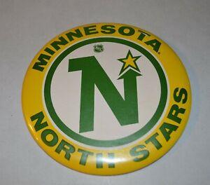"""Vintage 6"""" LARGE Minnesota North Stars Hockey Button"""