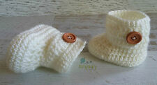 Cream Crochet Knitted Baby Booties Shoes Socks / Pregnancy Announcement