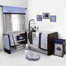 Baby Bedding 9 Piece Crib Set Boy Girl Nursery Blue Gray Elephants Comforter Set