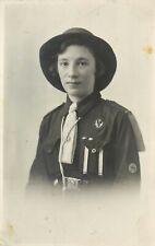 Vintage RPPC Postcard Catherine MacKinnon in Girl Guide Uniform, Oban Scotland