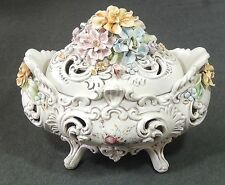 V Bassano Capodmonte Italy Hand Painted Footed Porcelain Bowl Centerpiece EUC
