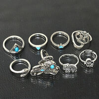 8PCS/Set Tribal Turquoise Hippie Gothic Elephant Snake Stacking Rings Jewelry