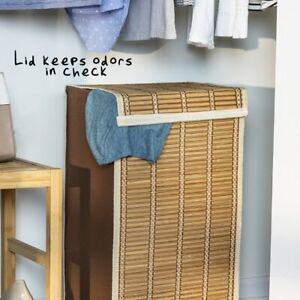 Honey-Can-Do Bamboo Wicker Weave Laundry Hamper, Brown