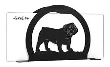 SWEN Products ENGLISH BULLDOG Black Metal Letter Napkin Card Holder