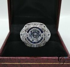ART DECO 1.60ct DIAMOND AND SAPPHIRE ENGAGEMENT COCKTAIL RING 925 SILVER