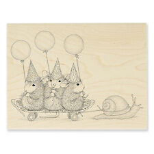 HOUSE MOUSE RUBBER STAMPS SLOW RIDERS NEW WOOD STAMP