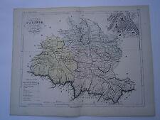 Carte 19° 1852  couleur atlas Malte brun Département de l'Ariége plan de Foix