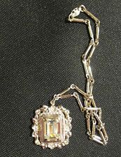 Vtg Silver CORO Prong Set Bevel Faceted Emerald Cut Rhinestone Pendant Necklace