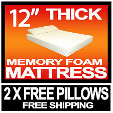 """12"""" DOUBLE 4ft 6"""" BED SIZE MEMORY FOAM MATTRESS + 2 FREE PILLOWS & FREE POSTAGE"""