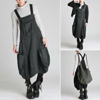 ZANZEA UK Womens Oversized Sleeveless Casual Loose Dungaree Dresses Overalls