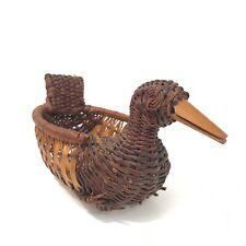 "Basket Weave Duck Handmade 6"" Home Decor Collectible Small Woven Natural"