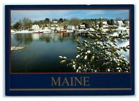 Postcard York Harbor Winter, Maine ME blue trim K13
