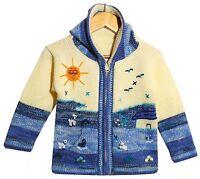 Strickjacke weiß+blau meliert,Gr. 92*98,Kapuze,Inka Tiere,Inka Peru Jacke Kinder