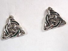 Enamel Marcasite Celtic Triangle and Circle Stud Earrings 925 Sterling Silver