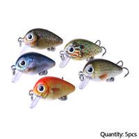 5Pcs Fishing Lures Kinds Of Minnow Fish Bass Tackle Hooks Baits Crankbait #ur