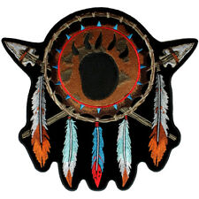 Native Indian Feathers, Bear Paw Print Patch FREE SHIP