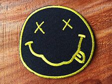 """Nirvana Band embroidered iron on patches dia 3"""" Black&Yellow"""