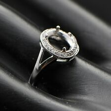 6x8mm Oval Cut Solid 14k 585 White Gold Natural Diamond Semi Mount Ring
