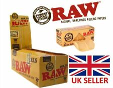 RAW Rolls Full Box 12 x 3m Slim Natural Rolling Paper Classic Kingsize Wide Rips