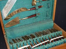 Vintage Thai Brass and Wood Flatware Cheese Set - Star House - Wood Box - 19pcs