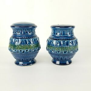 Vintage Holt Howard HH Salt Pepper Shakers Italy Blue Green Bitossi Style 4in