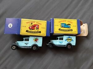 2× MATCHBOX MB 38 FORD MODEL A. CHESTER TOY MUSEUM + CHESTER HERALDRY CENTRE