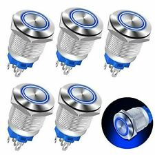 New Listingankey 5pcs 19mm Waterproof Latching Push Button Switch 12v Dc Ring Led Metal