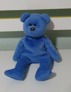 TY BEANIE PERIWINKLE 2000 BLUE BEAR PURPLE BOW 21CM