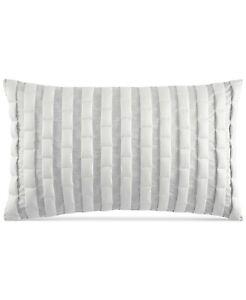 "Hotel Collection Modern Plaid Pima Cotton 12"" x 20"" Decorative Pillow - Ivory"