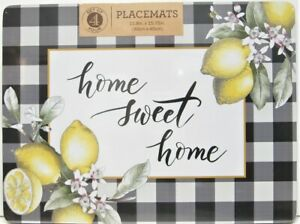 Set / 4 Benson Mills Cork Placemats Home Sweet Home Black White Check Lemons