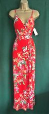Monsoon Coral Red Floral Callie Stretch Jersey Holiday Maxi Dress 10 12 14 UK 12 (usa8/eur40)