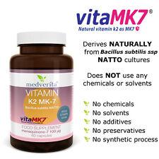 Vitamin K2 MK-7 100mcg 60 Caps- Natural from NATTO Bone & Joint Support + Inulin