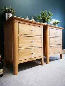 Pair of Bergen Light Oak Extra Large Bedside Cabinets / Scandinavian Nightstands