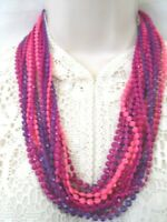 VINTAGE STATEMENT LONG  MULTI STRAND PLASTIC LUCITE BEAD FLAPPER STYLE NECKLACE