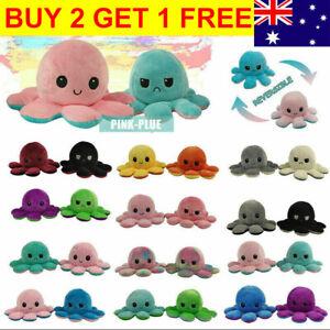 Double-Sided Flip Reversible Octopus Plush Toy Marine Life Animals Doll AU