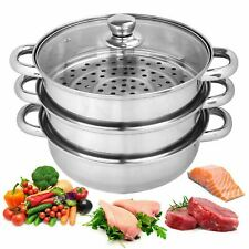 3 Tier Stainless Steel Vegetable Steamer Pan Set 25cm Pot Food Cooking Glass Lid