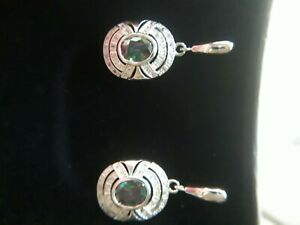 Silver and mystic topaz art deco style drop earrings