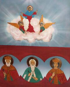 Religious gouache painting icon Jesus Christ Saints portrait