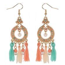 Joli Boucles d'oreilles pendantes en pêche & bleu turquoise - Plaqué Or cg0875