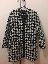 New Zara Women Jacket Coat Black&White Size L Herringbone Tweed RRP$219