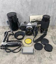 Vintage Canon FTb QL 35mm SLR Film Camera Canon FD 50mm Lens /75-200mm Quantaray
