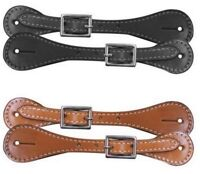 "Western Saddle Horse Ladies Womens or Youth Spur Straps 8"" Black or Medium Brown"
