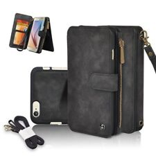 Genuine Leather Zipper Wallet Multifunction Cover Case For iPhone X 6 7 8 Plus