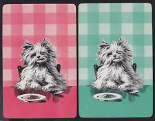 2 Single VINTAGE Swap/Playing Cards DOG DOGGY DINNER ID 'DRESDEN DZ-8-7'