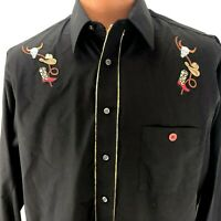 Western Rodeo Cowboy Shirt Black Embroidered Rockabilly Shirt Boots Hat