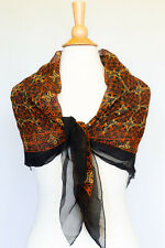 Silk Crepe Scarf wrap head cover sarong texture silk Black & Brick red Design
