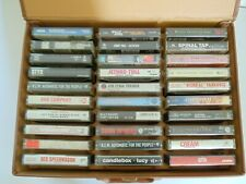 Cassettes lot of 60 + Brown Faux Leather Carry Case 80's/90's Classic Rock Pop