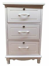 Bedside Table Night Stand Wood Cabinet Storage Home Furniture 3 Drawer White