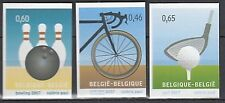 Belgium**GOLF-BOWLING-CYCLING-3 stamps from Booklet-SPORT-MNH-wielrennnen
