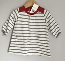 Petit Bateau French Design Striped Baby Dress Size 3-6 Months BNWT Grey Red